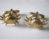Crabby Cufflinks - Raw Brass Crab