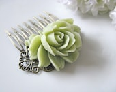 Mint Flower Hair Comb, Nile Green Rose Flower Antique Brass Art Nouveau Filigree Hair Comb, Bridesmaids Hair Accessory