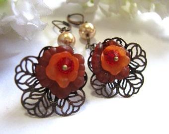 Lace Lily Petal Earrings. Dark Red/Bright Orange Flower Earrings. Lily Drop Earrings. Filigree Earrings.Gift For Her