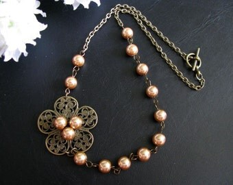Bronze Summer Blossom Necklace - Antiqued Bronze Floral Filigree, Bronze Pearls, Beautiful, Natural and Romantic