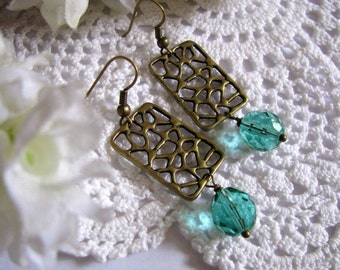 Antiqued Bronze Oriental Filigree Earrings With Faceted Teal Aqua Round Fire Polished Beads, Bronze Net Filigree Dangle Earrings