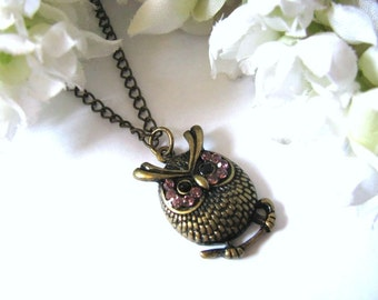 Bird Necklace, Owl Charm Necklace, Little Whimsical Antiqued Owl Necklace, Gift For Her, Christmas Holiday Gift Idea