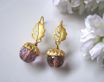 Acorn Earrings, Gold Leaf Earrings, Topaz Pink Luster Luxe Acorns With Golden Leaf Earrings, Bridesmaid Earrings, Bridal Jewelry