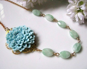 Statement Necklace, Flower Necklace, Pale Blue Chrysanthemum Flower And Faceted Oval Mexican Amazonite Necklace, Bridesmaid Necklace