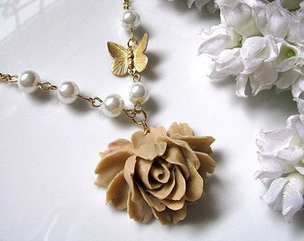 Latte Rose and Butterfly Necklace - Rose Cabochon, Raw Brass Butterfly And White Glass Pearls, Bridesmaid Necklace, Bridal Necklace