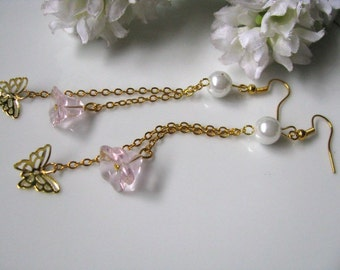 Butterfly Dance - Golden Butterflies With Pink Glass Flowers Earrings. Long Chandelier Earrings. Long Dangle Earrings. Pearl Earrings.