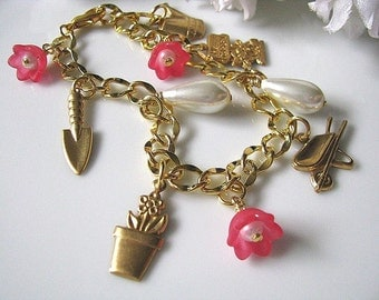 Flower Garden Bracelet, Charm Bracelet, Floral Pearl Bracelet, Gardening Tools Bracelet, Nature Inspired, Gift For Her, Gift For Mum