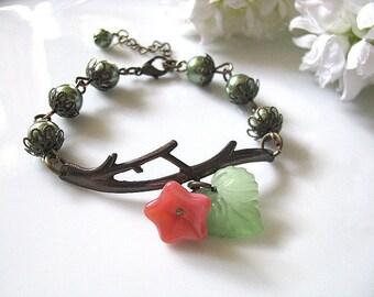 Branch Bracelet, Brass Twig Bracelet with Olive Pearls, Lucite Green Leaf and Pink Glass Flower, Reminiscent of Spring, Bridesmaid Bracelet