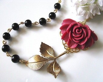 Red Rose With Black Glass Pearls And Brass Leaf Branch Necklace - Vintage Style Wedding, Bridal Necklace, Garden Wedding, Valentines Gift