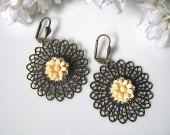 Antiqued Sunburst Filigree And Peach Daisy Flower Earrings, Garden Wedding, Gift For Her, Holiday Gift Idea, Christmas Gift