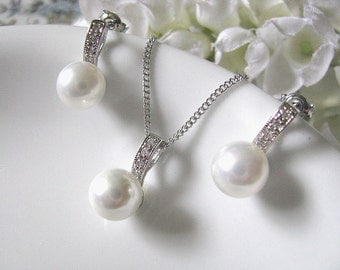 Pearl Bridal Jewelry Set, Bridal Wedding Jewelry, White Pearl And Cubic Zirconia Stones Bridal Necklace And Earrings Set, Bridesmaid Set