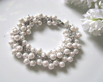 Bridal Pearl Bracelet, Bridal Ivory Cream Faux Pearls Cluster Bracelet, Wedding Bracelet, Bridal Bracelet, Bridesmaid Bracelet