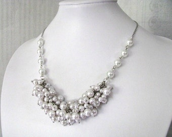 White Pearls Clustered Bib Necklace - Bridal Jewelry, Bridal Necklace, Bridesmaid Necklace, Wedding Jewelry