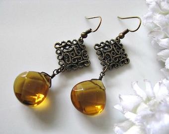 Brandy Quartz Teardrop Earrings, Bridesmaid Earrings, Gift For Her