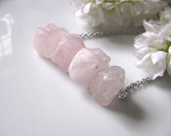Hammered Pink Rose Quartz Nugget Cubes Necklace, Crystal Quartz Necklace, Natural Gemstone Necklace