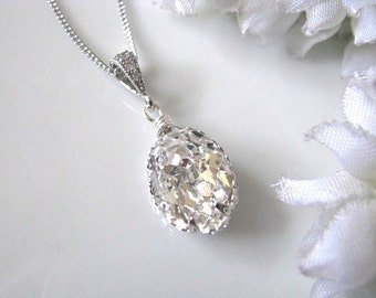 Swarovski Crystal Drop Bridal Necklace - Bridal Jewelry, Bridal Necklace, Bridemaids Necklace, Wedding Gift