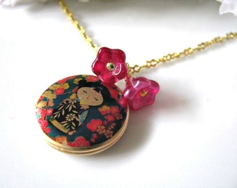 Locket Necklace, Dainty Japanese Kokeshi Doll Locket Necklace With Satin Magenta Czech Glass Flowers - Photo Locket, Art Locket