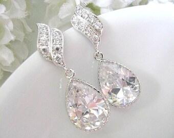 Rhodium Plated Cubic Zirconia Shield Post Pear Drop Earrings. CZ Crystal Teardrop Wedding Earrings. Bridesmaid Earrings. Maid Of Honour.