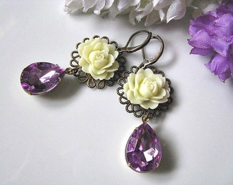 Ivory Cabbage Rose Flower With Vintage Faceted Light Amethyst Teardrops Glass Jewels Earrings, Lavender Purple Floral Earrings, Gift For Her