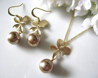 Matte Gold Orchid And Bronze Brown Swarovski Pearls Bridal Necklace And Earrings Set - Bridal Jewelry Set, Bridesmaid Earrings, Gift For Her