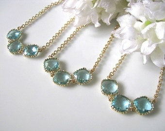 Set of Three (3) Aquamarine Glass Crystal With Gold Frame Bridesmaid Necklace - Bridal Wedding Jewelry, Maid Of Honor, Bridesmaids