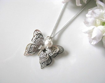 Silver Plated Three Layered Fluttering Butterflies With Rhinestone Necklace, Bridesmaid Necklace