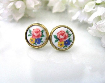 Romantic Shabby Chic Vintage Floral Earrings - Vintage Style Stud Earrings - Post Earrings - Ear Posts - Christmas Holiday Gift Idea