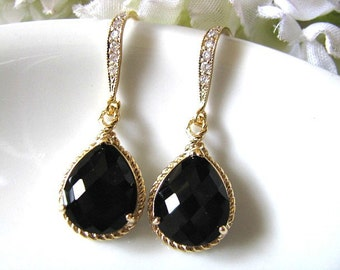 Black Onyx Crystal Glass Drop With Matte Gold Cubic Zirconia Hook Earrings, Black Wedding, Bridal Wedding Earrings, Bridesmaid Earrings