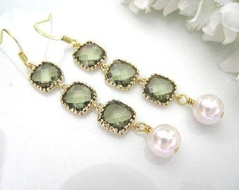 Olive Green Gold Framed Glass Stones White Swarovski Pearl Dangle Earrings, Long Bridal Earrings, Bridesmaid Earrings, Green Wedding Jewelry