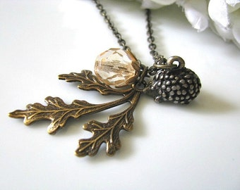 Hedgehog Necklace, Oak Leaf Necklace, Vintage Brass Oak Leaf With Honey Champagne Czech Glass Round And Hedgehog Necklace