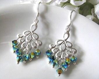 Swarovski Crystals Peacock Chandelier Earrings, Bridal Drop Earrings, Bridesmaid Earrings, Wedding Jewelry, Gold Indicolite Emerald Earrings