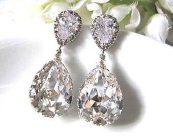 Nickle Free Matte Rhodium Plated Cubic Zirconia Ear Posts With Clear Swarovski Crystal Pear Drops Bridal Earrings, Bridemaids Earrings