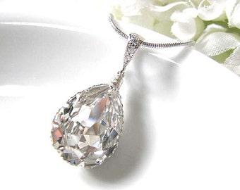 Bridal Drop Necklace, Clear Swarovski Crystal Pear Drop Pendant With Chain Necklace, Bridal Jewelry, Bridemaids Necklace, Wedding Gift