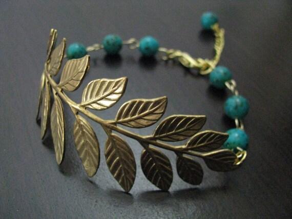 Brass Botanical Branch with Blue Ziron Brown Speckled Czech Glass Bracelet