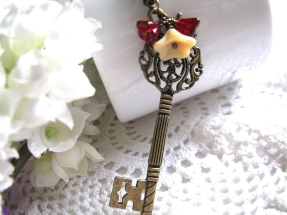 Key To My Heart Necklace - Antiqued Bronze Large Long Skeleton Key, Ruby Siam and Matte Opaque Beige Czech Flower, Woodland Inspired