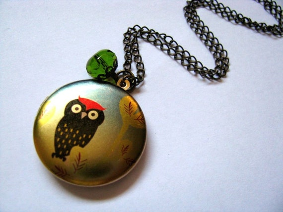 Owl Locket Necklace, Bird Locket Necklace, The Red Top Owl Altered Art Locket Necklace, Gift For Her