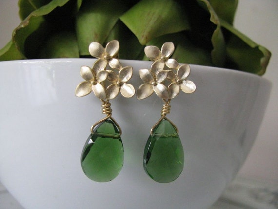 Forest Green Golden Cherry Blossom Stud Earrings, Bridesmaid Earrings