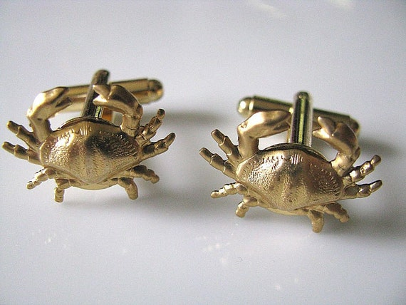 Crabby Cufflinks - Raw Brass Crab