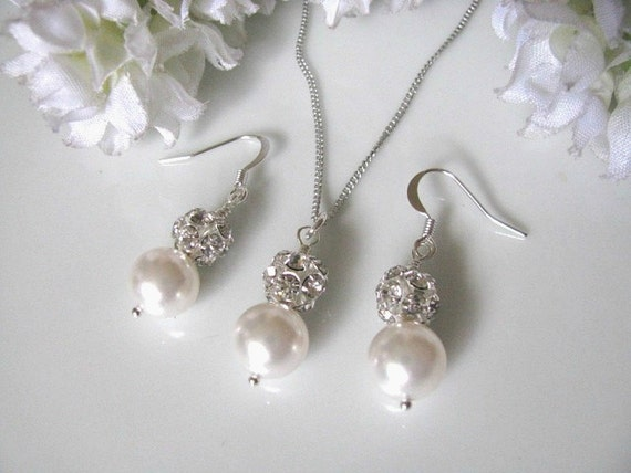 Swarovski Crystal White Pearl Rhinestone Bridal Necklace And Earrings Set - Bridal Wedding Jewelry Set, Bride, Bridesmaid Set
