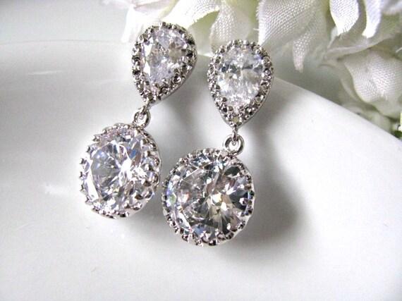 Bridal Earrings, Wedding Earrings, Bridal Wedding Jewelry, Bridesmaids Earrings, Round Cubic Zirconia Drop Dangle Earrings, Bridesmaid Gifts