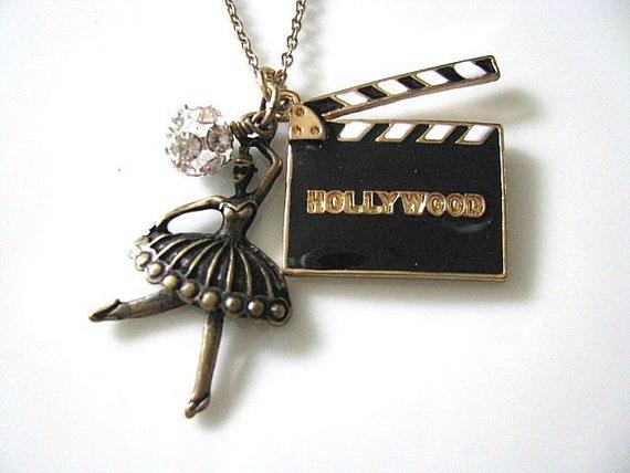 Hollywood Movies CUT Film Clapperboard Necklace - Black White Gold, Ballet Dancer, Crystal Rhinestone Balls, Hollywood Glam
