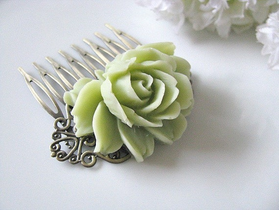 Mint Flower Hair Comb, Nile Green Rose Flower Antique Brass Art Nouveau Filigree Hair Comb, Bridesmaids Hair Accessory