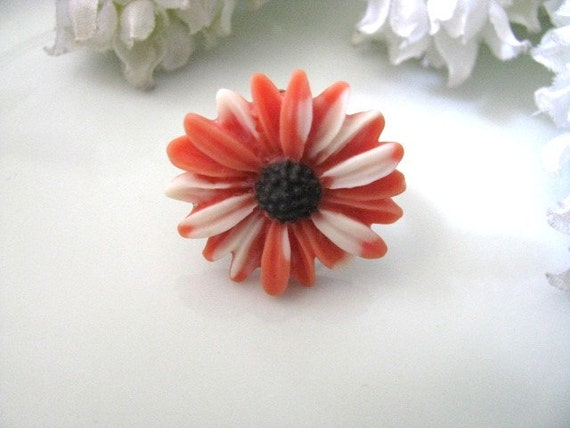 Orange And White Daisy Adjustable Ring, Statement Ring, Daisy Flower Cabochon Ring, Gift For Her