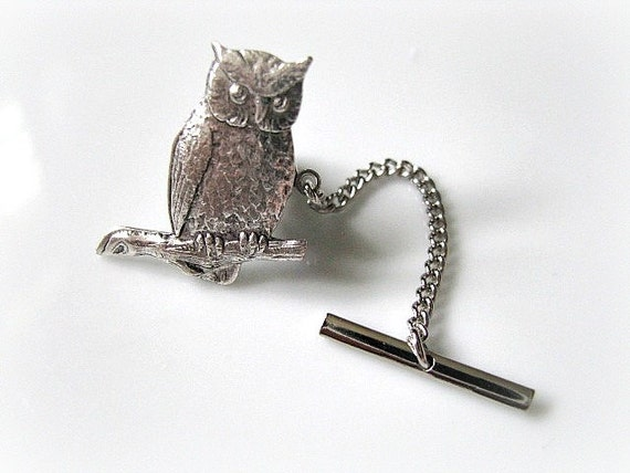 Silver Plated Owl Tie Tack With Bar - Mens Accessory, Rustic Vintage, Steampunk Fashion, Gift For Him, Gift For Dad, Groom, Groomsmen