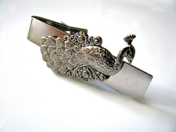 Peacock Tie Clip/Bar - Men Accessory, For Him, For Dad, Fathers Day Gift, Wedding Groom, Groomsmen