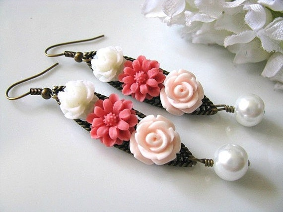 Flowers Collage Earrings, Pink Flowers Collage With White Glass Pearl Dangle Earrings, Floral Earrings, Wedding Gift, Holiday Gift