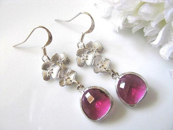 Fuchsia Azalea Flower Earrings In Matte Silver - Bridal Jewelry, Bridesmaid Earrings, Maid In Honor, Gift For Her