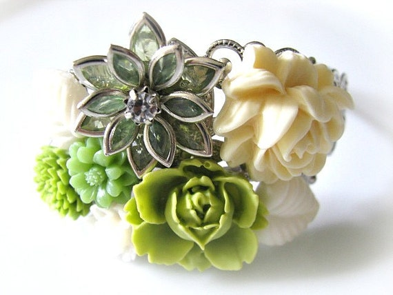 Garden Green Vintage Style Collage Bracelet - Bridal Jewelry, Bride, Maid Of Honour, Bridesmaid Cuff Bracelet