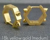 Gold Hexagon Hoop Earrings - Sterling Silver - Men's Earrings - Geometric Huggie Hoops - Male Etsy Earrings - Hexagon Rocker Medium  E251MY