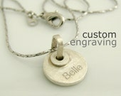 """1/2"""" Engravable Personalized Pendant or Charm - Tiny 925 Sterling Silver - For Necklace Bracelet - Custom Laser Engraving"""